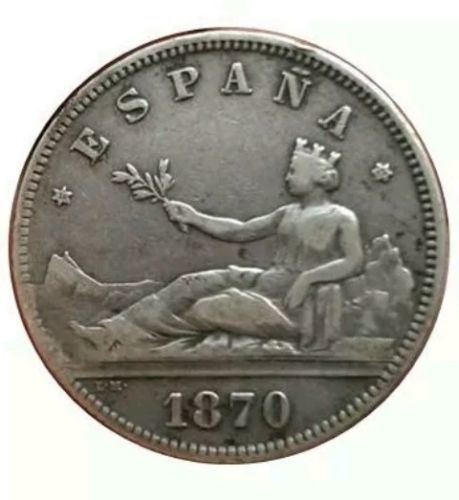 Spain - 1st Republic, 2 Pesetas 1870 (Stars 18-72) - 27 mm / 10.01 g
