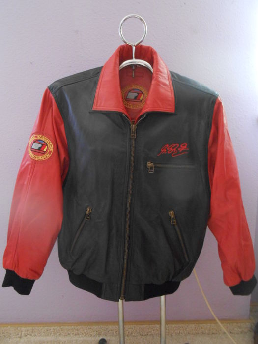 Michael Schumacher Collection -Original genuine leather jacket by Michael Schumacher black-red as new Size 48