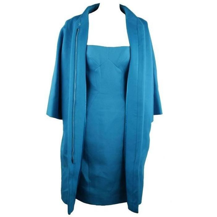Versace - Turquoise Wool Bustier Dress Coat Set Suit 2007 Fall Collection