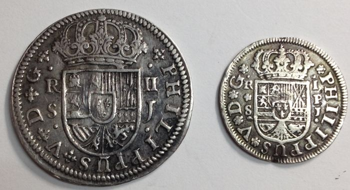 Spain - Felipe V - Lot of 2 silver coins - 1 Real and 2 Reales - 1744 and 1722 - J - Silver