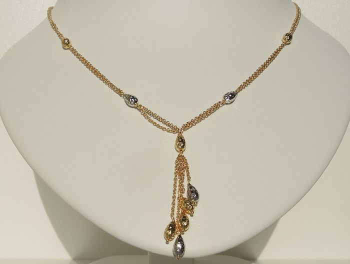 18kt gold necklace with white and yellow faceted elements – 45 cm – 9,65 gr