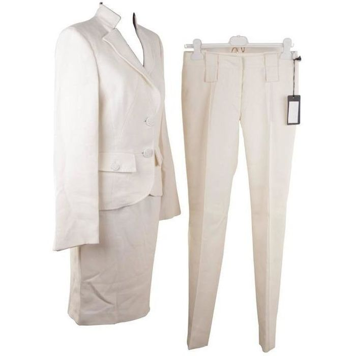 Versace - Ivory Wool 3 Pieces Set Blazer Skirt Trousers Suit Medusa