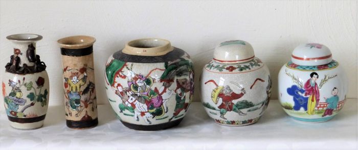 Two Nanjing Vases And Three Ginger Jars Famille Rose Nanking