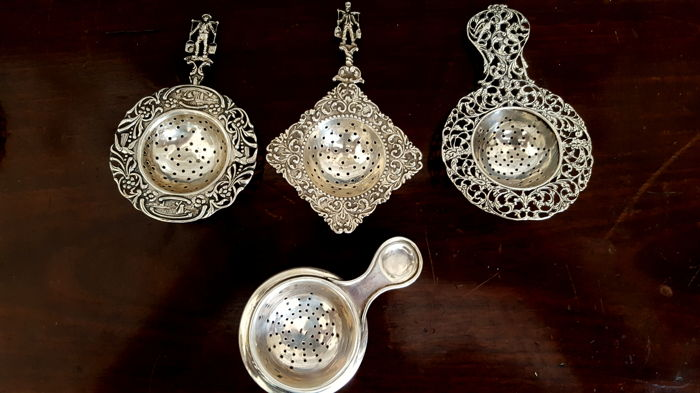 Four Silver tea strainers - The Netherlands, First half 20th century