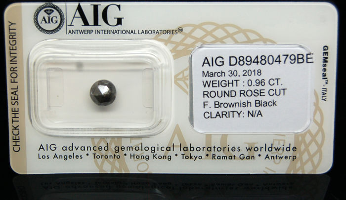 0.96Cts Certified Natural Fancy Brownish Black Diamond -No reserve