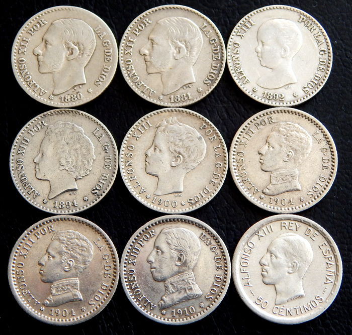 Spain - Alfonso XII and Alfonso XIII - 9 coins of 50 silver Céntimos from 1880 to 1926