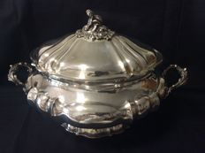 Silver Tureen, Baroque Style with Vermeil Interior Milan, 1872-1934