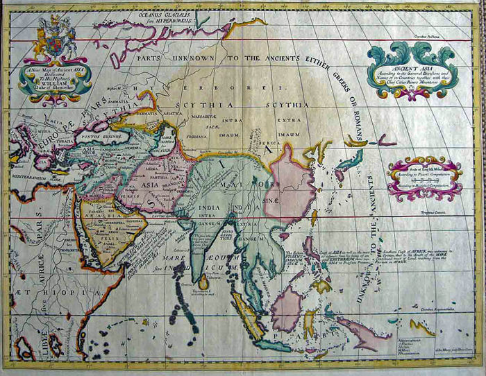 Asia; Edward Wells - A New Map of Ancient Asia - 1700