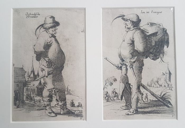 2 prints by Salomon Savery (1594–1683) - Two beggars