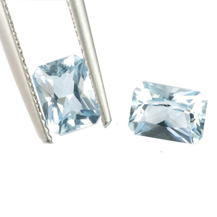 Lot of 2 Aquamarine - Blue - 1.87 ct