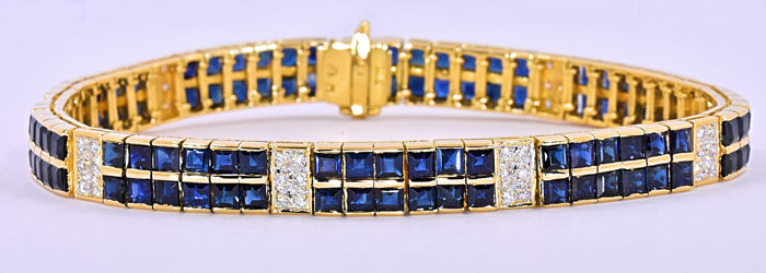13.66 Ct Sapphires and Diamonds bracelet ***NO RESERVE price!***