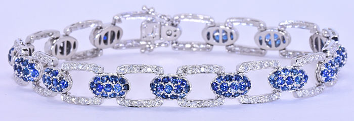 6.67 Ct Sapphires and Diamonds bracelet ***NO RESERVE price!***