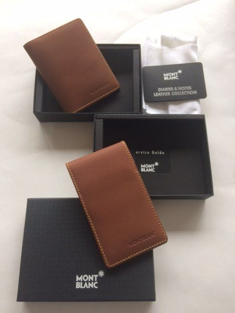 montblanc card holder brown and montblanc business card holder brown in box see photos - Mont Blanc Card Holder