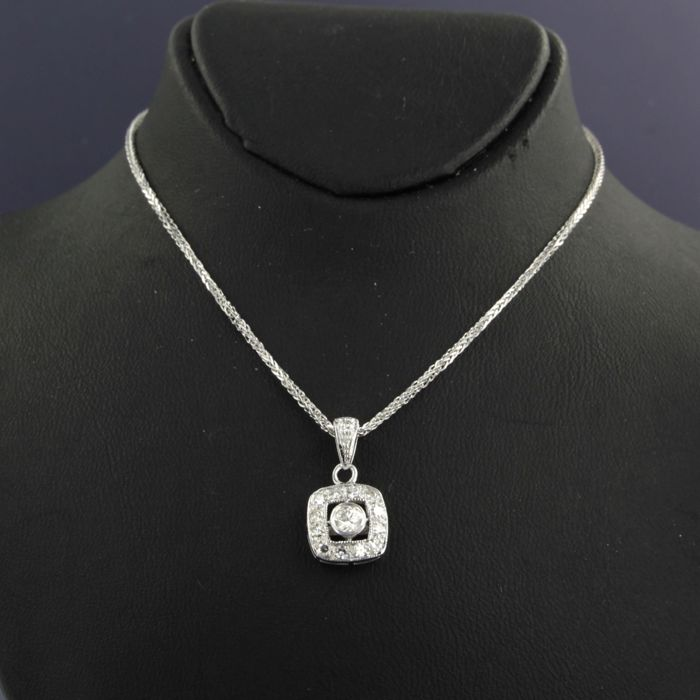 No reserve price 14 kt white gold necklace with a white gold no reserve price 14 kt white gold necklace with a white gold pendant set aloadofball Gallery