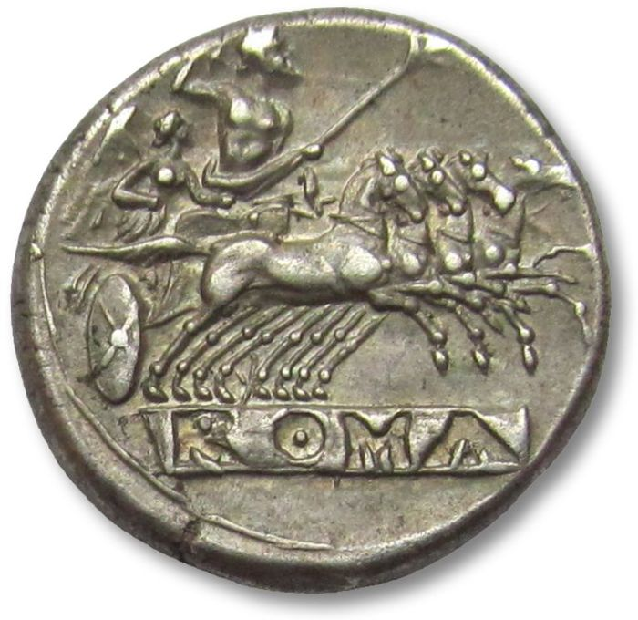 Roman Republic - AR didrachm / quadrigatus, Anonymous issue, pre-denarius time, Rome 225-214 B.C.