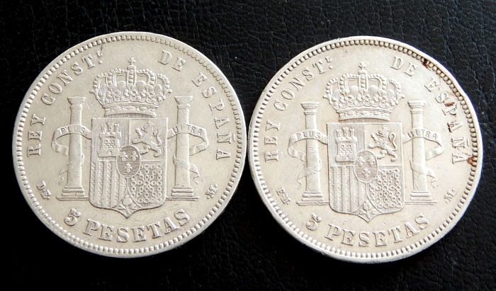 Spain - Alfonso XII - 5 Pesetas years 1878 DEM and 1878 EMM - 2 Coins - Silver