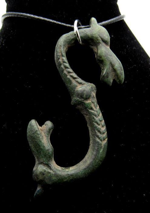 "Medieval Viking Era Bronze Pendant with Dragon Heads ""Fafnir"" - Free Necklace - 59 mm"
