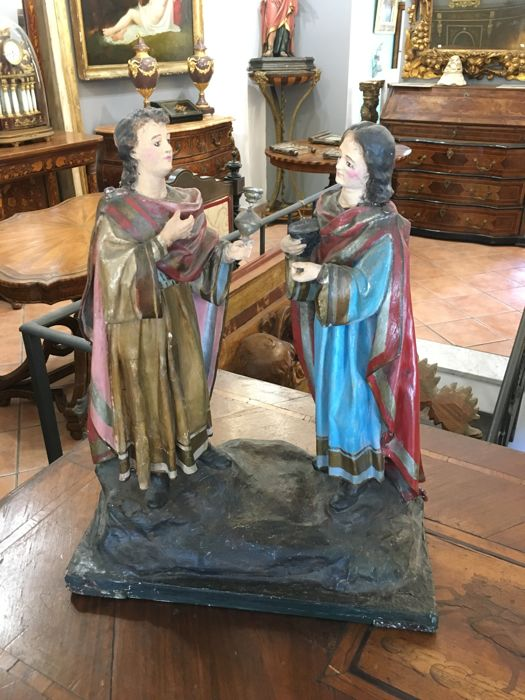 St. Cosma and Damiano, in paper mache - Late 19th century