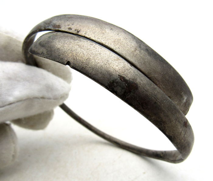 "Medieval - Viking Era Silver Coiled Snake Bracelet ""arm ring""  - 60mm"