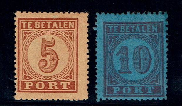 The Netherlands 1870 - postage due, large value number - NVPH P1/P2
