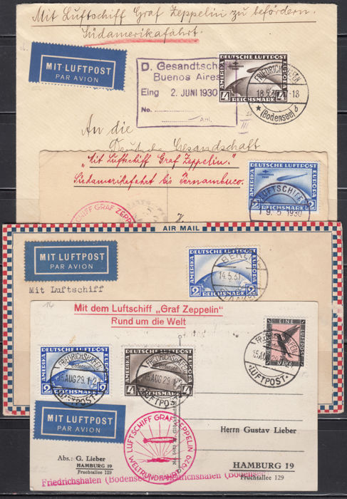 German Empire 1920/1930 - Set with envelopes and postcards circulated by Graf Zeppelin