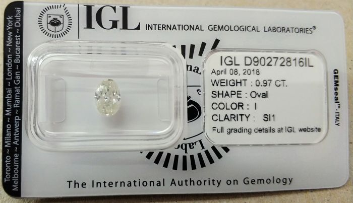 0.97 Carat I SI1 Oval Brilliant Certified & Sealed - Very Low Reserve Price!