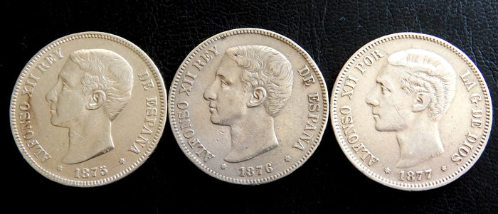 Spain - Alfonso XII - 5 Pesetas years 1875 *-75, 1876 *-76 & 1877 *18-77 - 3 coins - Silver