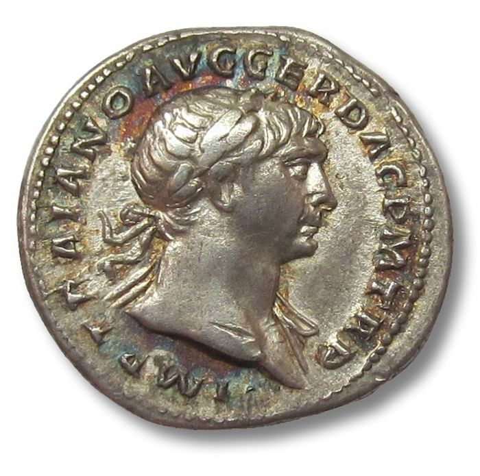Roman Empire - AR denarius. Trajan / Trajanus (98-117 A.D.), Rome 103-111 A.D. - beautiful coin & toning