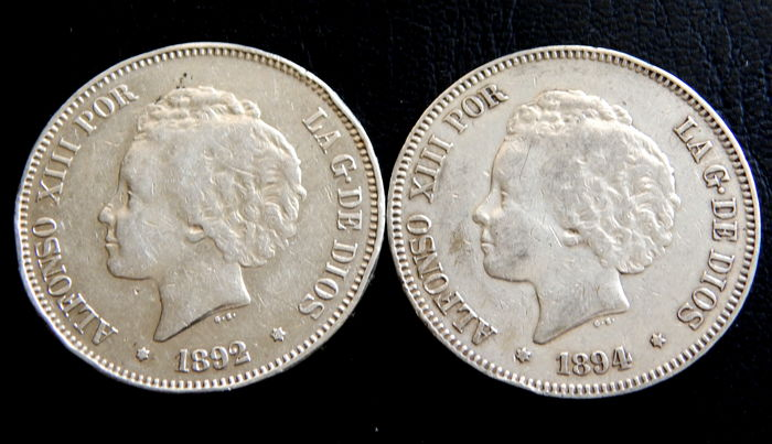 Spain - Alfonso XIII - 5 Pesetas years 1892 & 1894 - 2 Coins - Silver