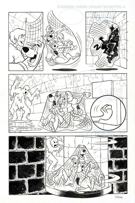 Scooby Doo - Original production page (p.4/8) - Summer Creek Swamp Monster - Cardona, Josep Maria [1990]