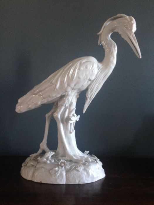 Heron in white glazed porcelain in the taste of Kandler, Paris, manufacture of Locré, 19th century