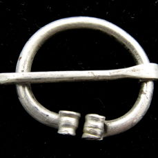 Medieval Viking Silver Omega Brooch with Coiled Terminals  - 30 mm