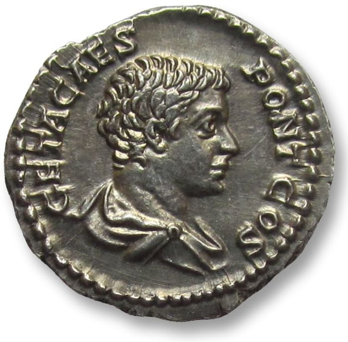 Roman Empire - AR denarius, Geta as caesar (198-209 A.D.), Rome 203-208 A.D. - superb portrait & beautiful toning