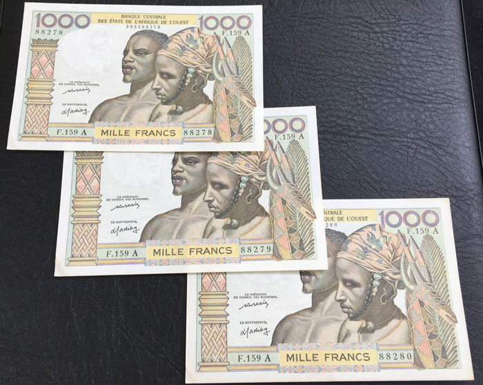 West African States - Ivory Coast - 3 x 1000 Francs 1977 - Pick 103Ai - Consecutive numbers