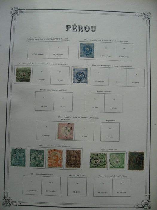 Peru 1858/1918 - Collection of stamps including telegraph, postage due, service and fiscal stamps