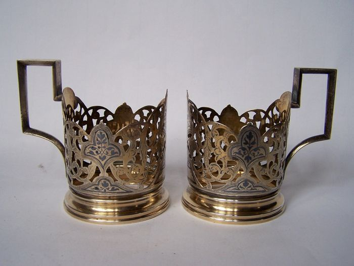 Pair of sterling silver and silver gilt cup holders with niello decorations, Russia, mid-20th century