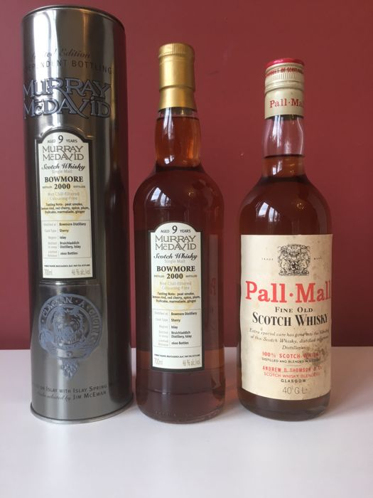 2 bottles - Bowmore 2000 Murray Mcdavid & Old Pall-Mall Scotch whisky ( Certificate of origine 28-3-79 )