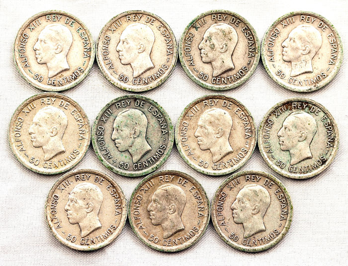 Spain - Alfonso XIII - Lot (11 coins) 50 silver céntimos - 1921 - Madrid