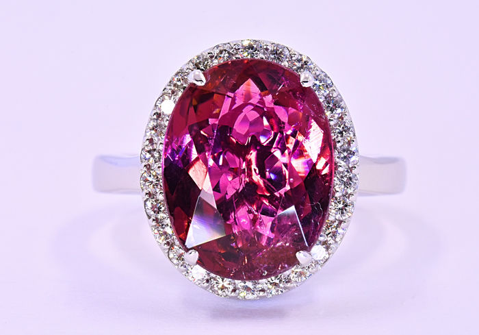 6.96 ct Pink Tourmaline with Diamonds ring ***NO RESERVE price!***