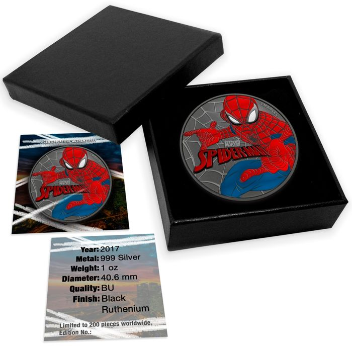 Tavalu - 1 $ -  Spiderman 999 Silver Ruthenium + Colour 2017 with box & certificate