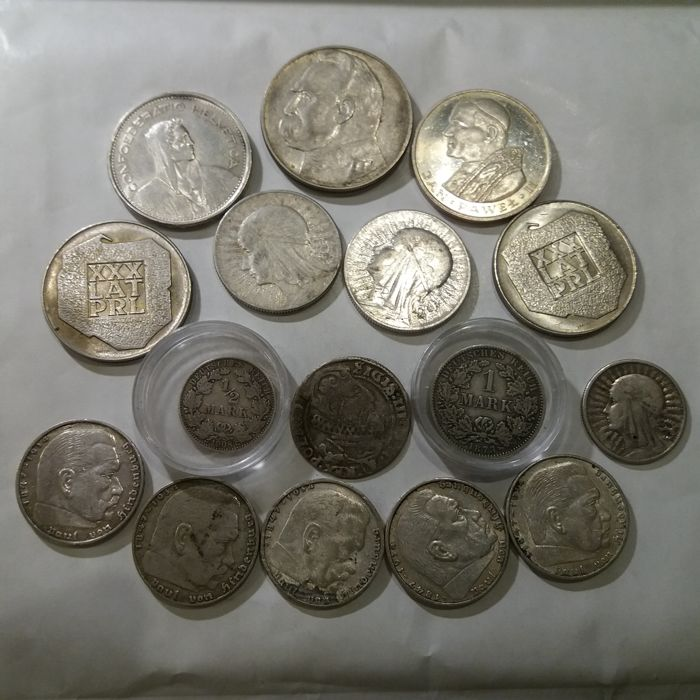 World – Lot of various coins (16 pieces) - silver