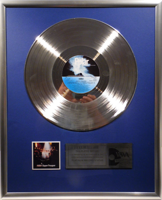 "ABBA  - Super Trouper - 12"" Polar Record platinum plated record by WWA Awards"