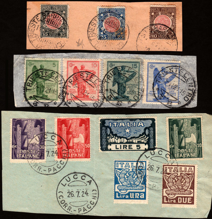 Italy, Kingdom - 3 complete series with original cancel on fragment - Sass.  no. S.19, 21, 26