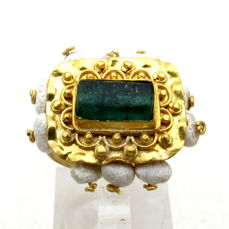 Ancient Byzantine Gold Ring with Glass & Pearls  - Wearable Gift - 17 mm