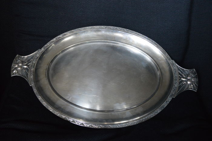 Art Deco silver plated metal service tray