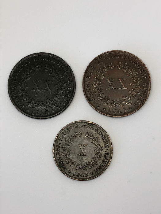 Portugal Monarchy –  D Maria II ( 1834-1853 ) – X Reis – 1843 & XX Reis – 1849/1850 – Copper