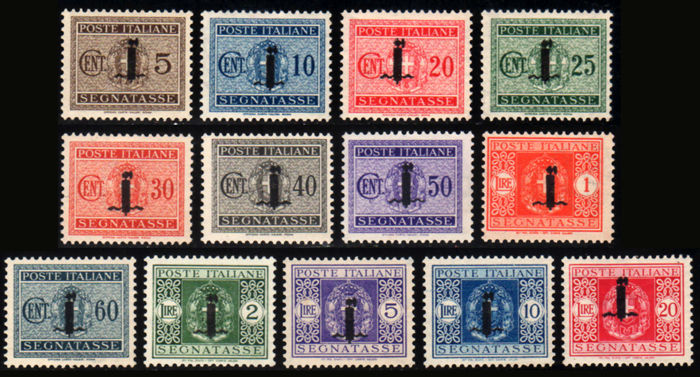 Italy 1944 - RSI Postage Due Fasces complete series - Sass. no. 60/72