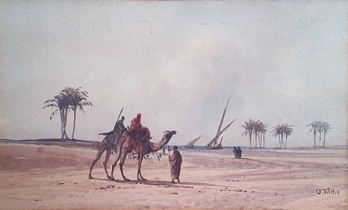 Otto Tilche (c1821-1894) - Orientalist Dessert with Camels & Palm trees