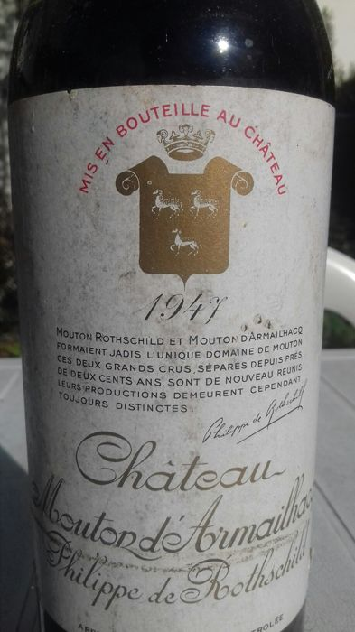 1947 Chateau Mouton d 'Armailhacq, Pauillac Grand Cru Classé - 1 bottle