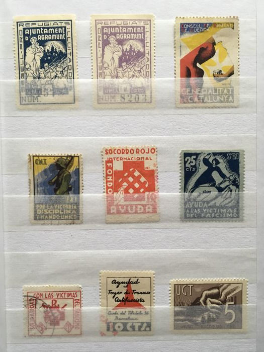 Spain 1936/1939 - Collection of 300 stamps, small sheets, patriotic and local of the Civil War